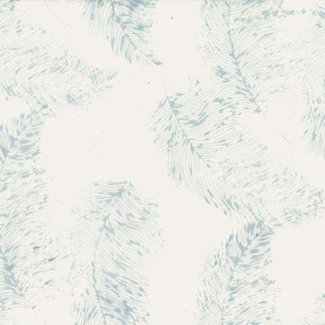Tissu batik plumes grises fond blanc