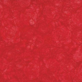 Tissu batik roses rouges ton sur ton