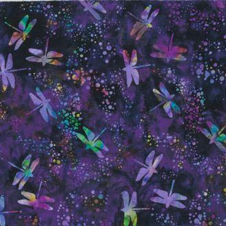 Tissu batik libellules violet foncé