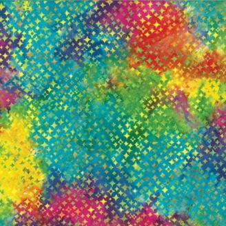 Tissu batik étoiles multicolores