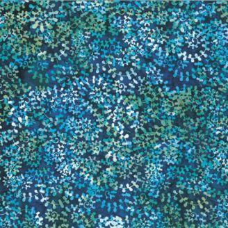 Tissu batik lianes turquoises fond bleu pétrole