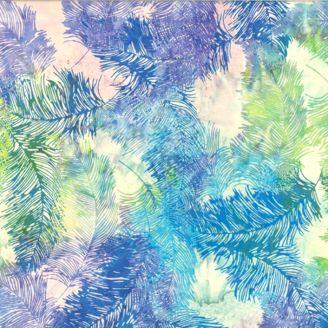 Tissu batik plumes bleues vertes et violettes