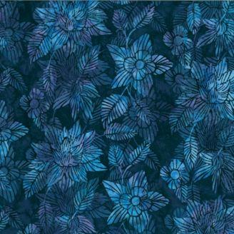 Tissu batik fleur de lotus bleu pétrole