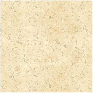 Tissu patchwork grande largeur broderie de volutes ivoire (10 x 270 cm)