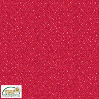 Tissu patchwork petits points fond rouge - Solaire
