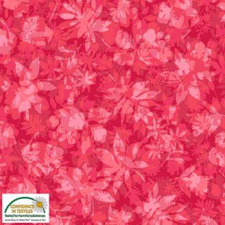Tissu patchwork feuilles d'arbres fond rouge - Solaire