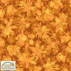 Tissu patchwork feuilles d'arbres fond ambre - Solaire