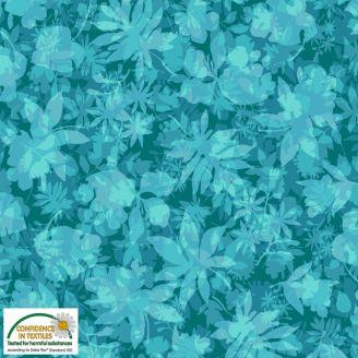 Tissu patchwork feuilles d'arbres fond turquoise - Solaire