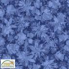 Tissu patchwork feuilles d'arbres fond bleu - Solaire