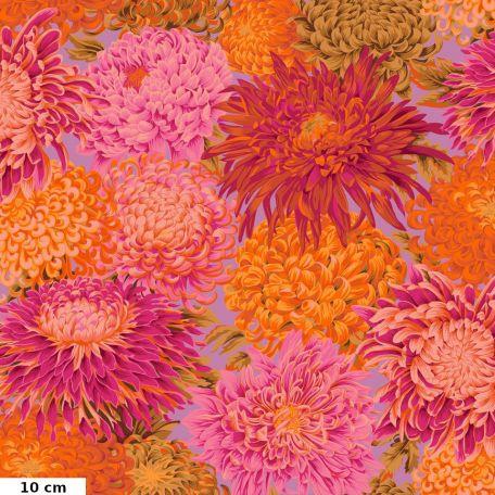 Tissu Philip Jacobs chrysanthèmes PJ41 rose