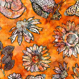 Tissu patchwork fleurs gravées fond orange rouille - Floraluna