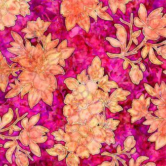 Tissu patchwork bouquet floral fuchsia - Floraluna