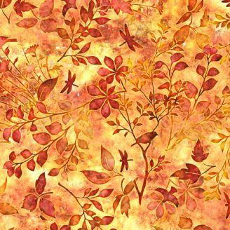 Tissu patchwork feuillage et oiseaux ton sur ton orange - Floraluna