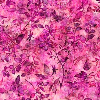 Tissu patchwork feuillage et oiseaux ton sur ton fuchsia - Floraluna