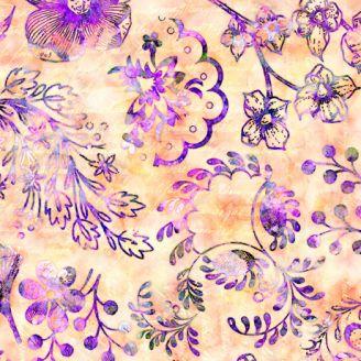 Tissu patchwork fleurs lilas et texte fond crème - Floraluna
