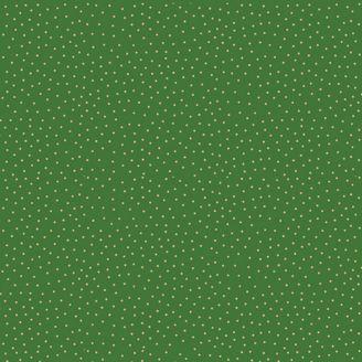Tissu patchwork minis pois dorés fond vert - Yuletide