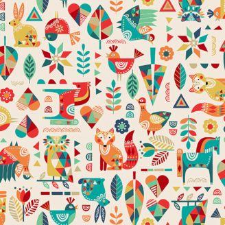 Tissu patchwork animaux folk fond écru - Folk friends
