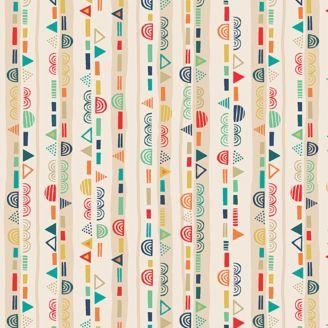 Tissu patchwork rayures fantaisie fond écru - Folk friends