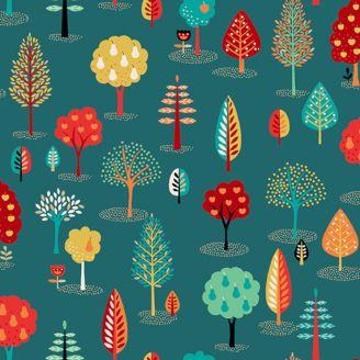 Tissu patchwork arbres fond bleu canard - Folk friends