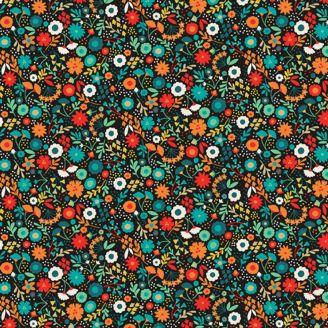 Tissu patchwork à petites fleurs fond noir - Folk friends