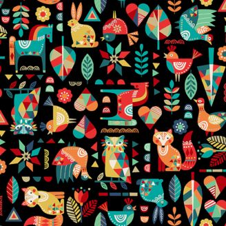 Tissu patchwork animaux folk fond noir - Folk friends