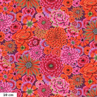 Tissu Kaffe Fassett grandes fleurs Enchanted oranges fond violet GP172