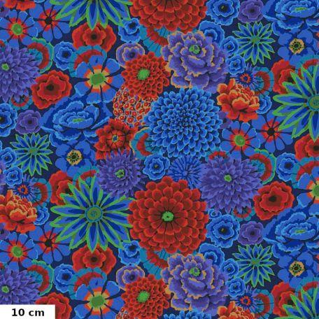 Tissu Kaffe Fassett grandes fleurs Enchanted cobalt GP172