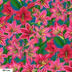 Tissu Philip Jacobs amaryllis roses fond bleu canard PJ104