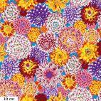 Tissu Philip Jacobs Dancing Dahlias multicolores fond bleu ciel PJ101