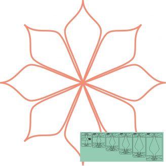 "Fleur n°8 (Spin e fex) 3,5"" - Règle à quilter Westalee"