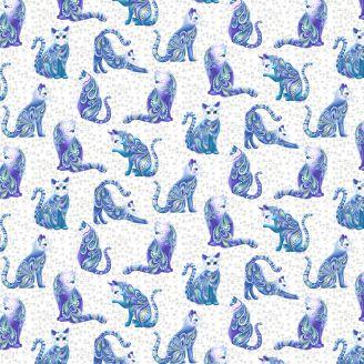 Tissu patchwork perlé chats