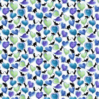 Tissu patchwork perlé coeurs et chats
