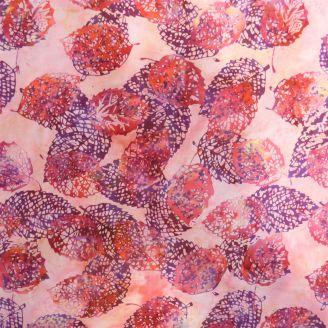Tissu batik Feuilles d'automne rose