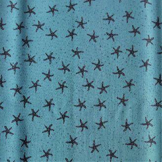 Tissu imprimé bleu motif étoile de mer