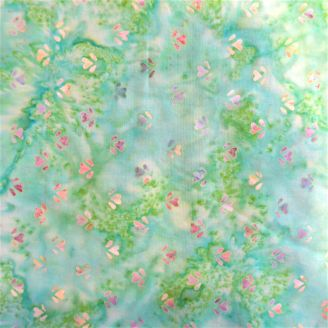 Tissu batik Vert faux-uni et petits coeurs