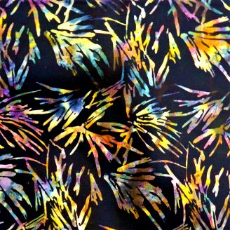 Tissu batik noir feuilles de palmiers multicolores