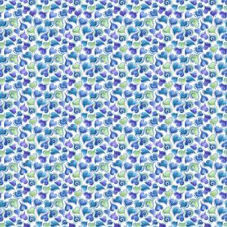 Tissu patchwork coeurs tourbillonnants bleus, verts et violets - Cat-i-tude singing the blues