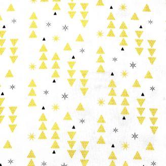 Tissu patchwork de Noël écru triangles et étoiles