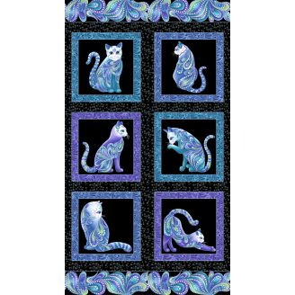 Tissu patchwork panneau de chats - Cat-i-tude singing the blues