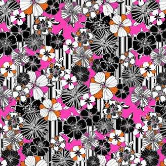 Tissu patchwork noir et rose coquelicots graphiques - Fruit Punch