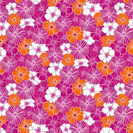 Tissu patchwork coquelicots roses et oranges - Fruit Punch