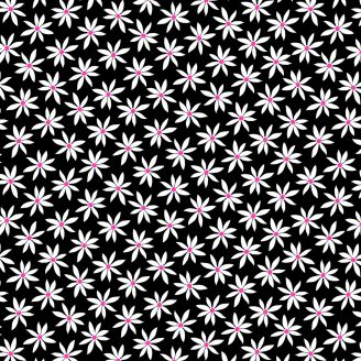 Tissu patchwork marguerites fond noir - Fruit Punch