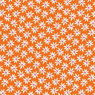 Tissu patchwork marguerites fond orange - Fruit Punch