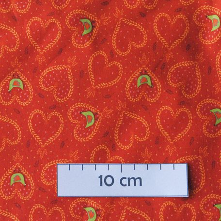 Tissu coton bio coeur de paille orange d'Odile Bailloeul