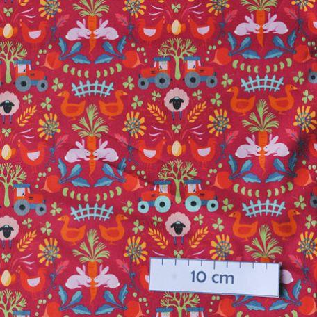 Tissu coton bio fermette rouge d'Odile Bailloeul