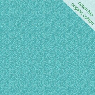 Tissu coton bio paille bleu d'Odile Bailloeul