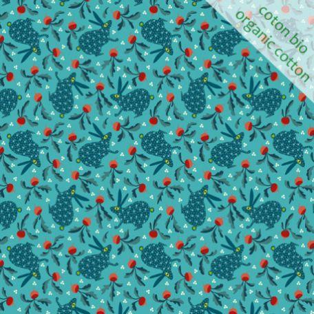 Tissu coton bio lapin bleu d'Odile Bailloeul