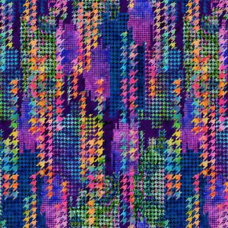 Tissu patchwork grande largeur pied de poule multicolore (270 cm)