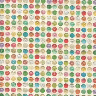Tissu patchwork boutons à coudre multicolores fond écru