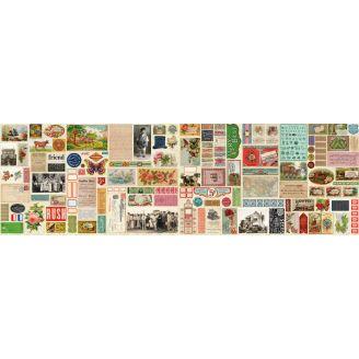 Tissu patchwork photos, timbres et étiquettes vintage (34 x 110 cm)